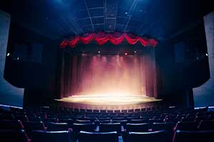 Seating view of a theater and live performance stage