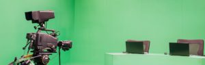 a news station that has a green screen and needs to be protected against on-set liability in case an anchor were to be injured on the set