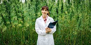 Business woman in cannabis growhouse covered by cannabis insurance policies