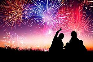 silhouettes of two people sitting on the ground and watching a fireworks display run by a group who consulted with an entertainment insurance broker for liability protection