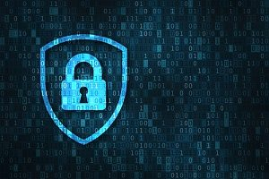 a lock and shield with binary numbers showing how data breach insurance can protect any business