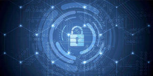 cybersecurity concept with a lock representing data breach insurance