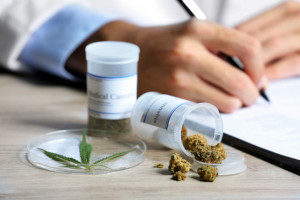 Doctor writing a prescription with an open bottle of medicinal marijuana to the side
