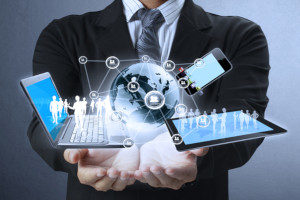 Technology equipment in the hands of a businessman