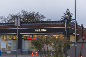 a dispensary in the city with marijuana written on the storefront