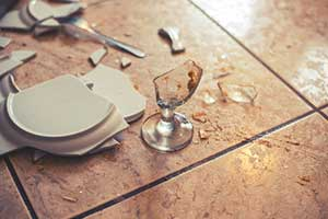 broken glass on restaurant floor