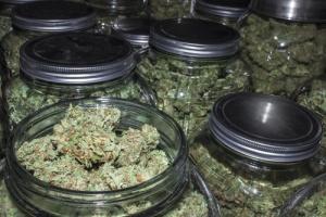 Marijuana Dispensary Jars in a new Opening A Marijuana Dispensary