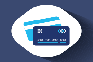 Two cards representing credit card skimming