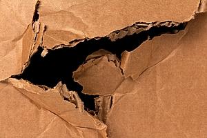 Damaged cardboard package
