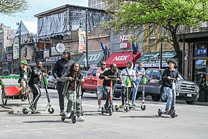 Group of riders on scooters in Austin, TX