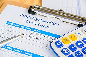 a property and liability claim form being filed by a dispensary