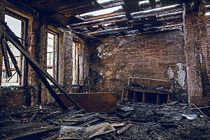 a fire damaged building that used to belong to a cannabis cultivator