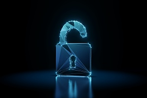 cyber liability insurance lock in blue neon