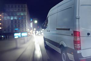 Cannabis delivery van driving at night
