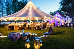 colorful wedding tents at night