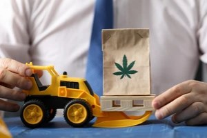 man holding cannabis bag and toy truck with Cannabis Cargo Insurance