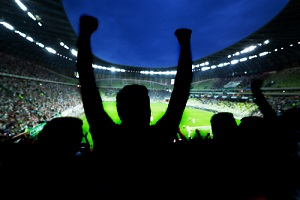 soccer fans support their team and celebrate goal