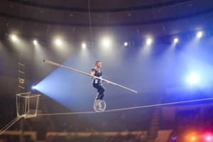 tightrope performer in circus