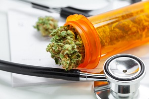 medical marijuana close up cannabis buds with doctors prescription for weed