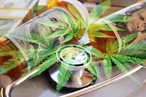 medical marijuana concept with cannabis sativa leaves