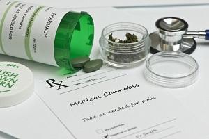 medical marijuana prescription with bottle and stethoscope
