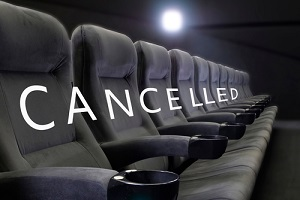 word cancelled on empty seats of cinema
