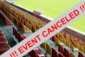 event cancelled seal in the stadium