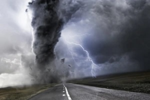 hurricane with lightning